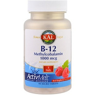 KAL, B-12 Methylcobalamin, Red Raspberry, 1000 mcg, 90 Micro Tablets