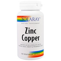 Solaray, Zinc Copper, 100 Veggie Caps