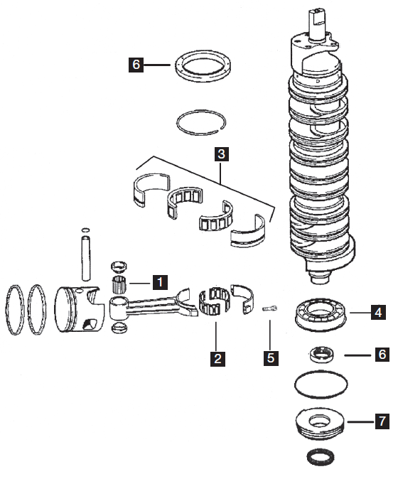 Johnson  Evinrude  Brp - Powerheads - Six Cylinder - Powerhead Components