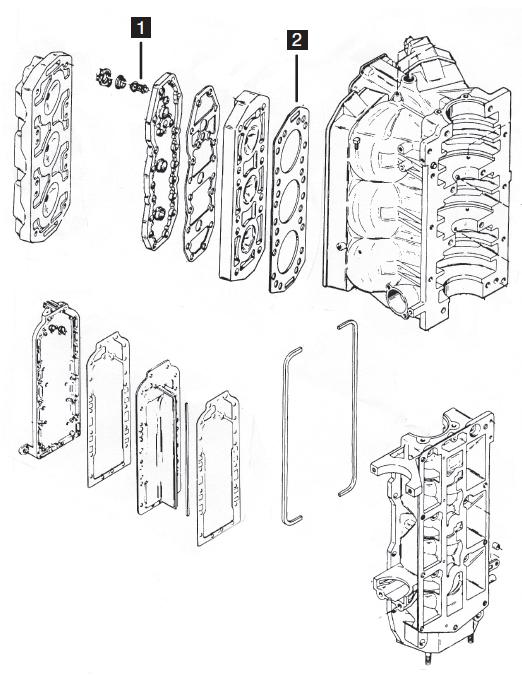 Mercury  Mariner 6 Cylinder Powerhead Parts  135  150 Hp 2 0l 1984