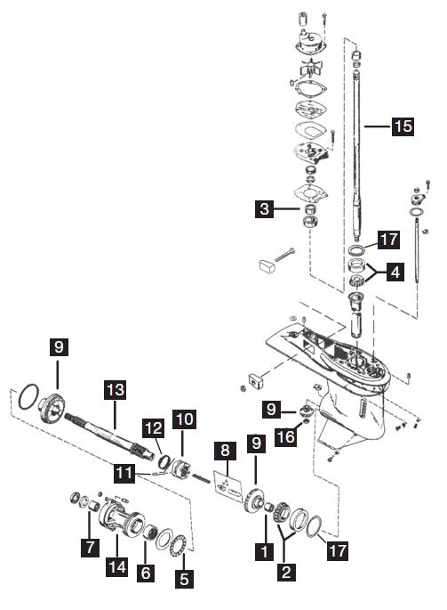 mercury  mariner - gearcases - three cylinder - new aftermarket parts  u0026 rebuild kits  90  115