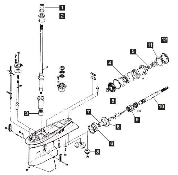 new aftermarket yamaha 115 130 hp 4 cyl lower unit rebuild kit 1985 rh obparts com Electrical Diagram 1997 Honda GL1500SE Honda Outboard Diagram