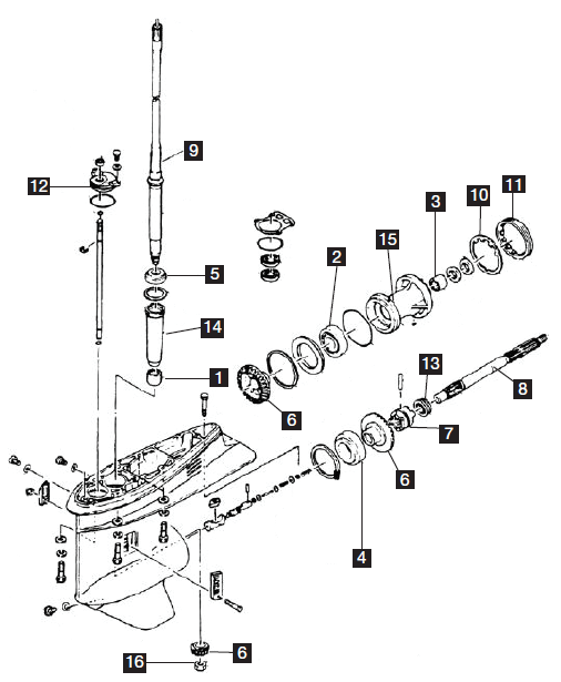 Diagram Of 1986 574apwxs Omc Cobra Sterndrive Lower Gearcase Diagram