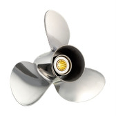 "New 40-75 HP Solas Saturn Stainless Propeller Small 3 3/8"" Hub, 13 Tooth & Thru Hub Exhaust"