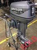 """2000 Johnson 25 HP 2 Cylinder 2 Stroke 15"""" Tiller Outboard Motor"""