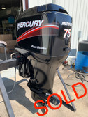 "2002 Mercury 75 HP 4 Cylinder Carbureted 4 Stroke 20"" Outboard Motor"
