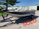 1998 Sylvan 1700 Blue Fish 17' Aluminum Deep-V Walk Through Winshield Fishing Boat with Trailer