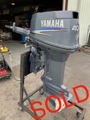 """2005 Yamaha 40 HP 3 Cylinder Carbureted 2 Stroke 20"""" Tiller Outboard Motor"""