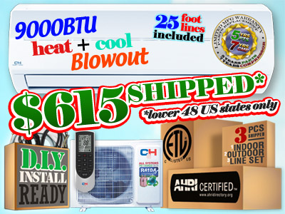 2019 Summer Blowout - 9000 BTU Mini Split AC with Heat Pump, $615 Shipped