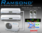 RAMSOND DUAL ZONE 18000 BTU (9000+9000 BTU) DC INVERTER MINI SPLIT AIR CONDITIONING SYSTEM