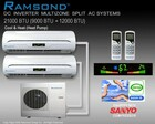 RAMSOND DUAL ZONE 21000 BTU (9000+12000 BTU) DC INVERTER MINI SPLIT AIR CONDITIONING SYSTEM