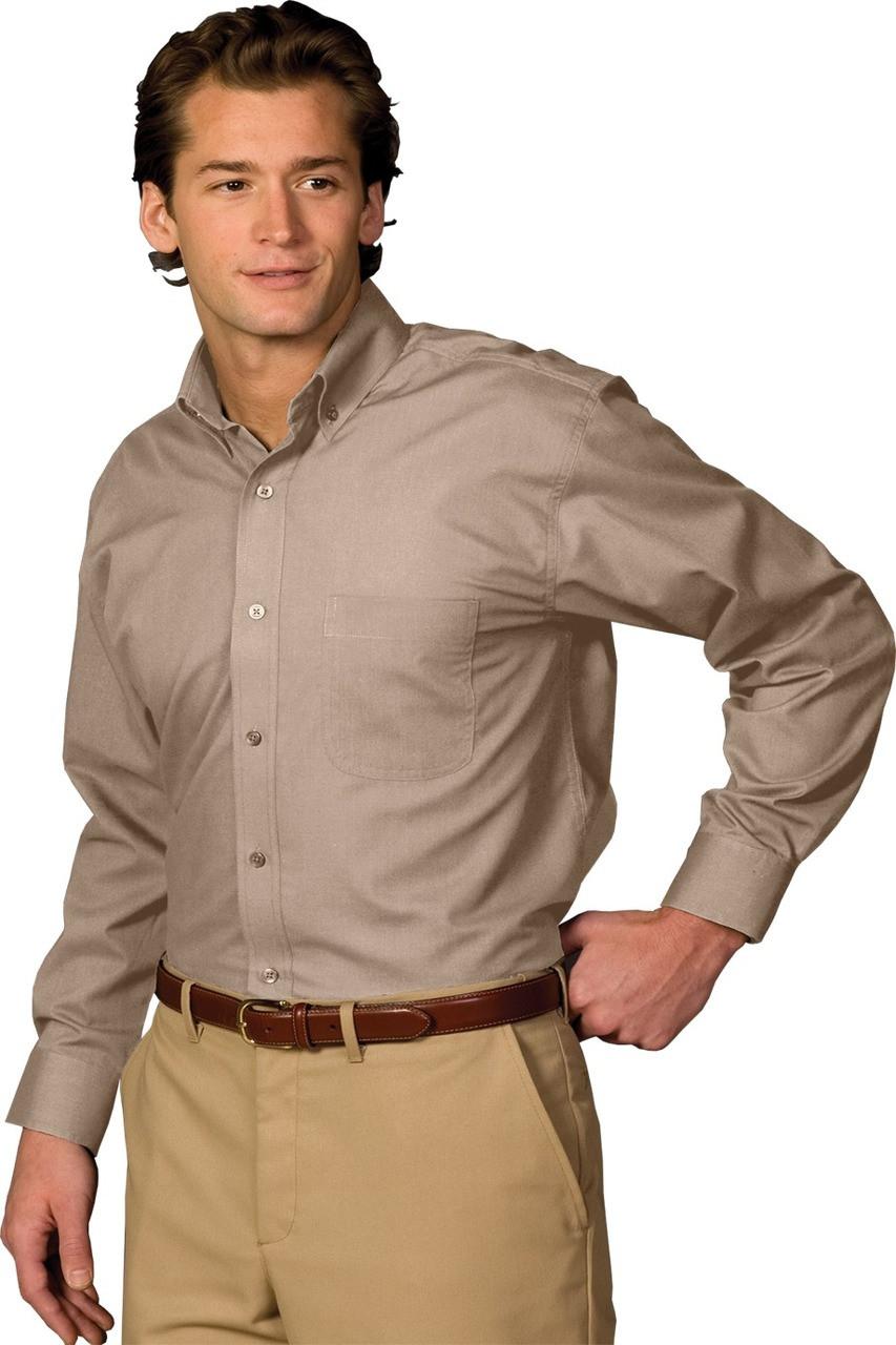 Mens Lightweight Long Sleeve Poplin Uniform Work Shirt With Chest