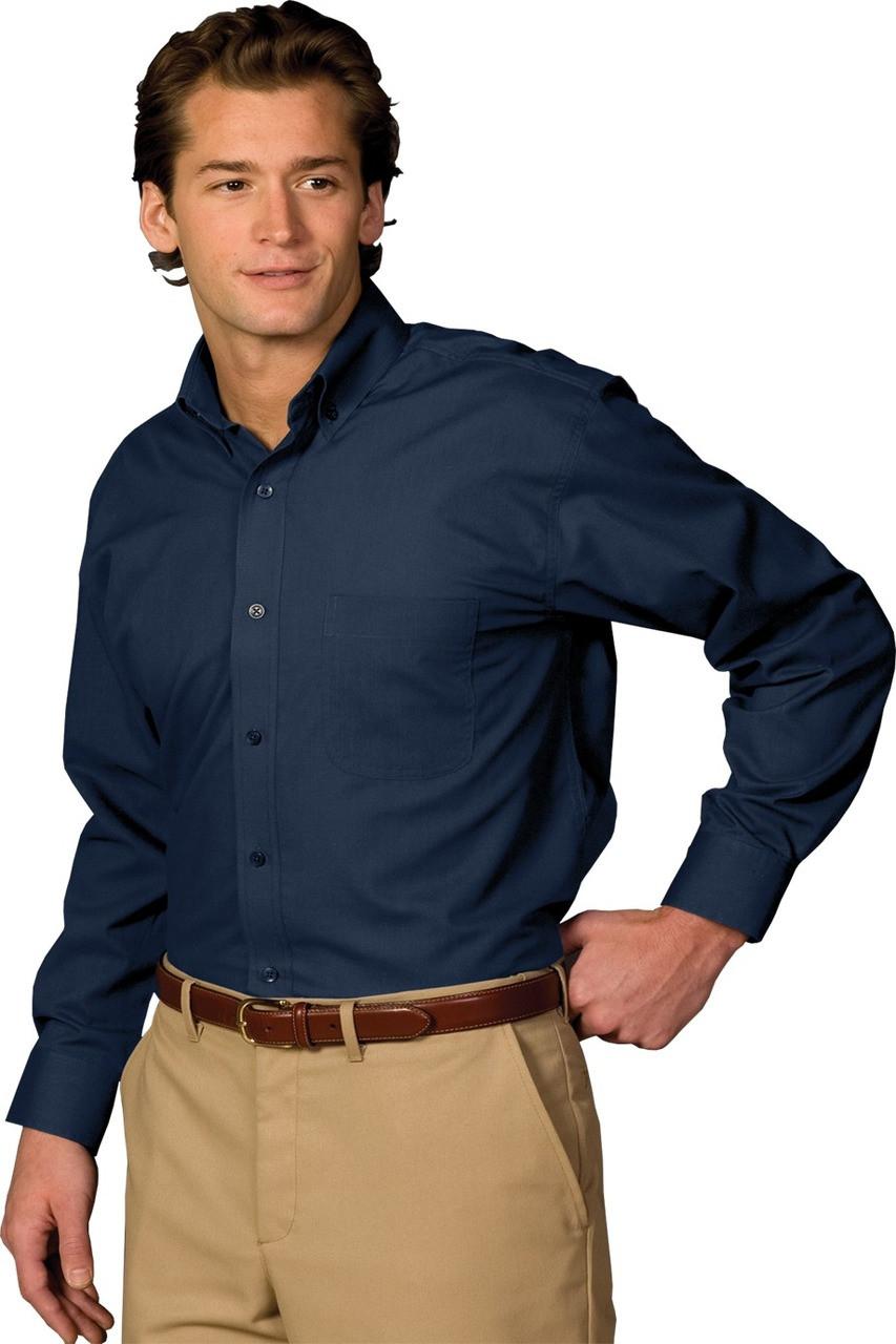 Mens lightweight long sleeve poplin uniform work shirt
