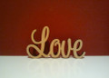 Freestanding wooden word Love 7cm tall 12cm long