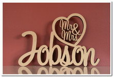 MDF Wedding Sign. Your surname with Mr & Mrs in the heart on top Max length 70cm