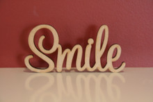 7cm tall Freestanding wooden word sign Smile