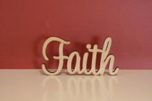 7cm tall Freestanding wooden word sign Faith