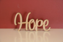 10cm tall Freestanding wooden word sign Hope