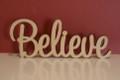10cm tall Freestanding wooden word sign Believe