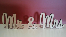 Freestanding MDF wooden words Mr & Mrs. Available in height from 7cm to 11cm