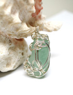 Large Mint Sea Glass Sterling Wrapped Pendant