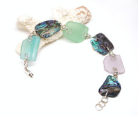Pastel Sea Glass and Abalone Chunk Bracelet