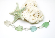 Sea Glass and Antique Crystal Chunk Bracelet