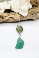 Banded Agate & Teal Sea Glass Drop