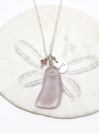 "Simple Inspirations Necklace~ Lavender Sea Glass ""LOVE"""