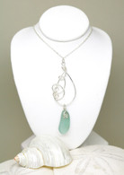 Mint Sea Glass & Hammered Sterling Necklace