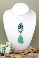 Abalone & Dark Mint Sea Glass Necklace