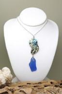 Abalone & True Blue Sea Glass Necklace