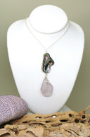 Abalone & Pale Lavender Sea Glass Necklace
