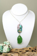 Abalone & Deep Lime Sea Glass  Necklace