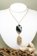 14k Wrapped White Sea Glass & Amazonite Necklace
