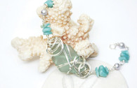 Sterling Wrapped Turquoise Sea Glass & Amazonite Bracelet