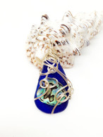 Cobalt Blue & Abalone Sterling Wrapped Pendant