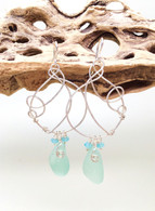 Light Turquoise & Swarovski Hammered Sterling Earrings