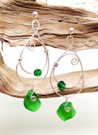 Emerald Green Sea Glass & Swarovski Hammered Sterling Earrings