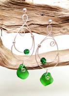 Emerald Green Sea Glass & Swarovski Hammered Sterling Earrings