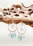 Sterling Sea Glass Charm Earrings
