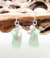 Mint Sea Glass Dangle Earrings