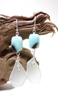 Amazonite & White Sea Glass Dangle Earrings
