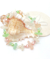 Watermelon Sea Glass & Freshwater Pearl Nugget Bracelet