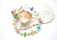 Pastel Rainbow Sea Glass & Pearl Nugget Bracelet