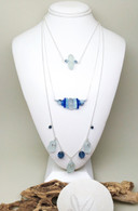 Light Blues Layered Sea Glass Necklace