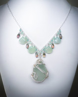 Large Chunk Sea Foam Sea Glass & Chalcedony Necklace