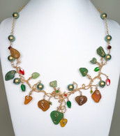 Sea Glass Fall Leaves On Twisted Gold Vines Necklace