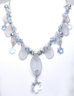 Winter Snowflakes Sea Glass & Swarovski Necklace