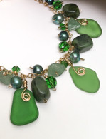 Shades of Green Sea Glass Cluster Charm Bracelet